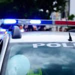 Police vehicle flashing lights